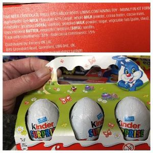 """Regular KINDER """"Surprise"""" Chocolate Eggs (in multi-packs and individually)."""